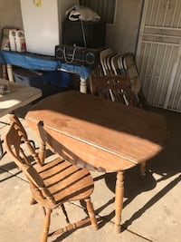 brown dining set wood table w/4 chairs