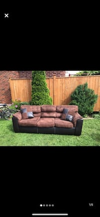 3 person Brown Cloth Couch