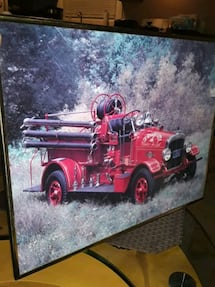 SALE PRICE VINTAGE TAHOE CITY FIRETRUCK IN GLASS WITH METAL COLORED