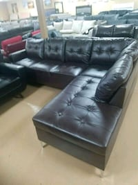 black leather sectional couch with ottoman Stockton, 95204