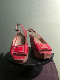 Size 7.5 red satini wedges