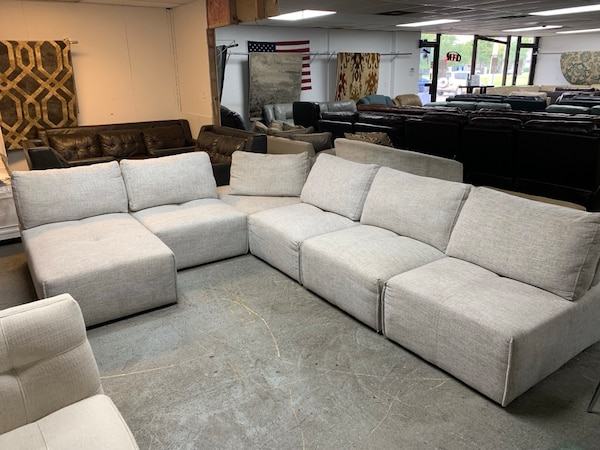 Pleasant Gray Laney Park Sectional With Chaise Uwap Interior Chair Design Uwaporg