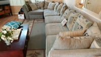 brown and white fabric sectional sofa Las Vegas, 89129