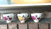 three yellow, pink and white ceramic teacups Surrey, V3R 3W7
