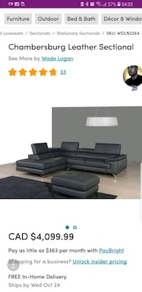 black leather sectional sofa screenshot Vancouver, V5T 1E4