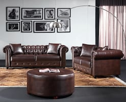 3 pc Chesterfield Sofa Set NEw Brown Leather Sofa