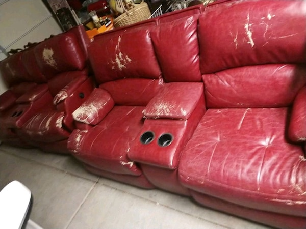 2 Red leather couches