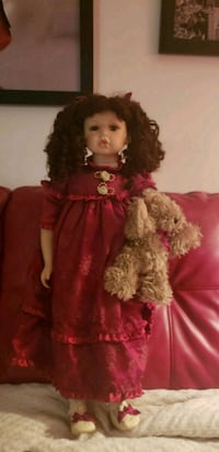 doll in red and white dress Dorval