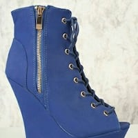 blue side-zip wedge boots size 7