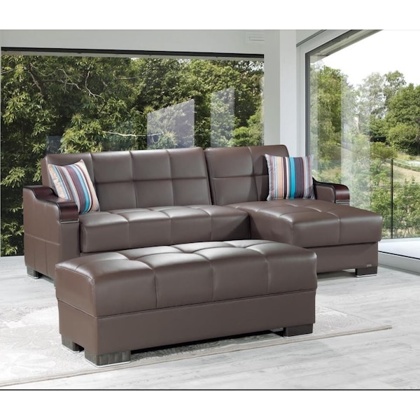 !!!NEW!!! DOWNTOWN BROWN LEATHERETTE SECTIONAL SOFA BED WITH STORAGE