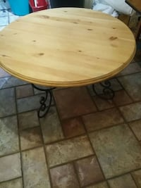 Solid pine and wrought iron coffee table