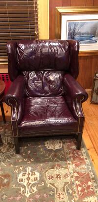 Burgundy red  leather padded glider chair Inwood, 11096