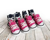 Brand new 4pcs/set Denim Puppy Dog Shoes Anti-slip Waterproof Sporty Sneakers Breathable for Small Cats too .
