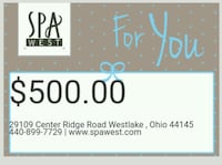 $500 SPA WEST Gift Certificate for only $300 Lakewood, 44107