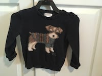 Ralph Lauren SIZE 24M Black and brown dog printed sweater Mission, 78503