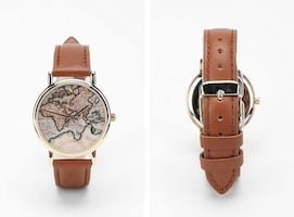 Around the World Brown Leather Watch