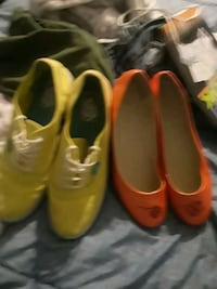 Yellow Vans size 10 womens and Orange slip ons size 9.5 fits like a 10