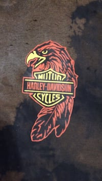red and yellow Motor Harley Davidson sticker Charleston, 61920