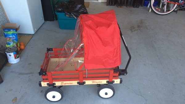 Toddler's red and beige wagon