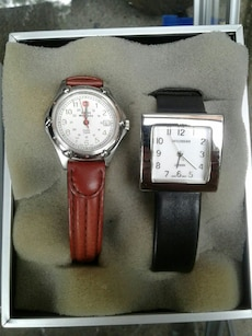 two round and square analog watches with leather straps