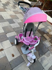Toddler and child bike and stroller