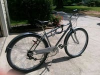 black and gray Schwinn cruiser bike