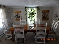 8 ft Country farmhouse table , 6 ladderback chairs Vintondale