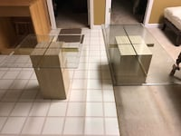 2 heavy glass/ marble tables- coffee table 54x24x16.5 and side table 24x24x22 Woodstock, 30188