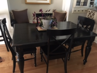 rectangular black wooden table with chairs VANCOUVER