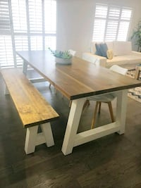 Modern Solid Wood Dining Table and Bench Hamilton, L9B 1P9