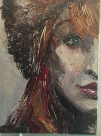 Side face of woman portrait painting