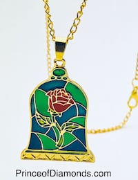Gold coloured Disney Beauty & the Beast stain glass necklace Brampton, L6R 1X5