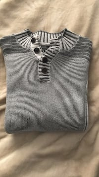 Grey long sleeve sweater with buttons  Vaughan