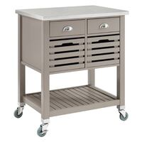 Gray Wood Kitchen Cart with Stainless Steel Top Los Angeles, 91335