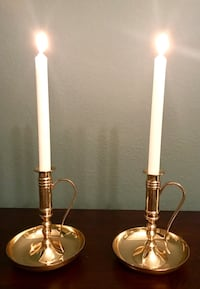 Set of 2- Solid Brass Vintage Candle Holders Wheat Ridge, 80033