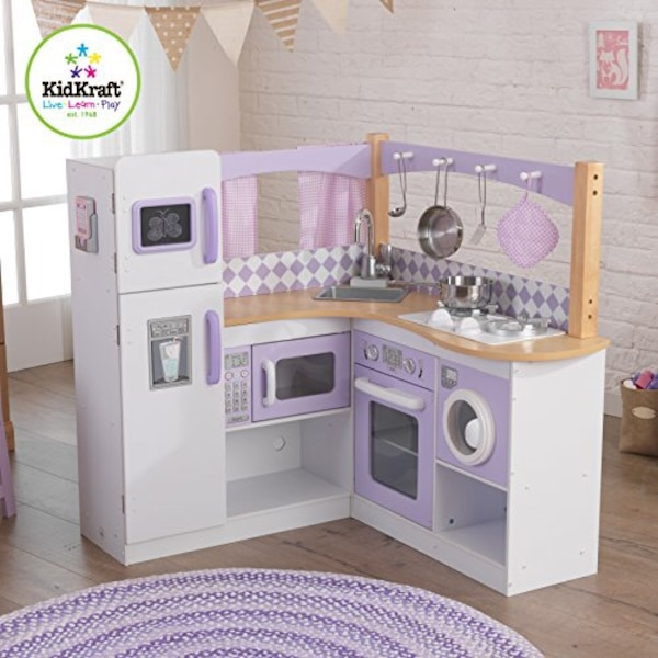 White and purple wooden kitchen play set