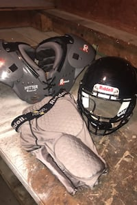 Riddell  equipment. Never used girdle. Used helmet and shoulder pads