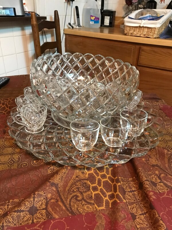 Vintage Tiffany crystal bunch bowl, plate and cups