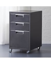 !! LIKE NEW !! CB2 TPS carbon grey 3-drawer filing cabinet