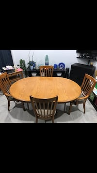 Solid Oakwood 6 Chairs Dinette