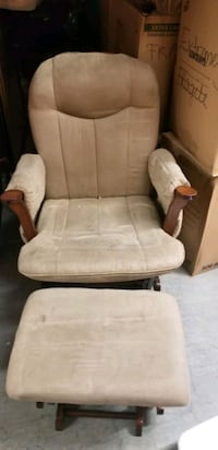 brown wooden frame white padded glider chair Washington, 20012
