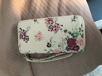 White and pink floral leather wallet New York, 10001