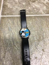 Black leather strap blue and white mickey mouse print analog watch