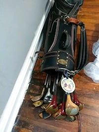 black and red golf bag with golf clubs Dundalk