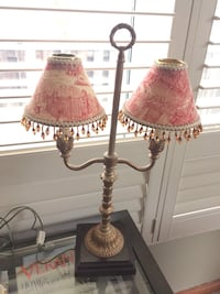 Gold metal lamp with Toile shades and wooden base Pickering, L1X 1W7