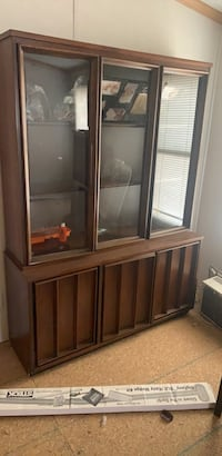brown wooden framed glass display cabinet Lothian, 20711