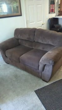 brown suede 2 seat sofa extra set of seats