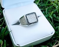 Sterling Silver Simulated Black & White Pave Diamonds STUNNING Men's Ring Sz 10