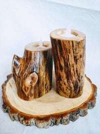 Natural wood tea light candle set. Yukon
