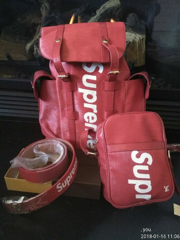 b7de853191d7 Used red Supreme X Louis Vuitton bucket backpack and crossbody bag ...